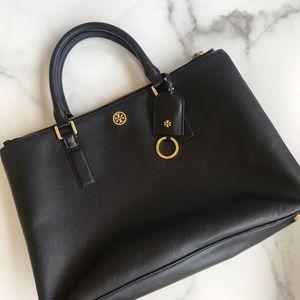 Tory Burch large Robinson black tote shoulder bag